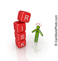 Risk concept Isolated on white background3d rendered
