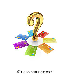 Colorful credit cards around golden query sign.Isolated on...