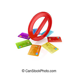 Colorful credit cards around red stop symbolIsolated on...