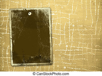 Ancient textile background with gold blank for announcement