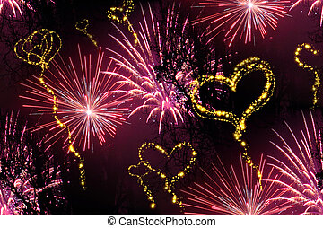 heart fireworks background