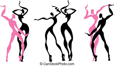 Abstract dancing figures. White background. Vector...