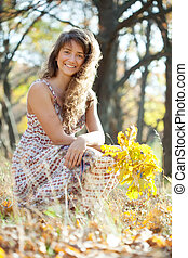 long-haired girl in autumn - Outdoor portrait of long-haired...