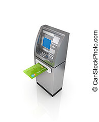 ATM concept. Isolated on white background.3d rendered.