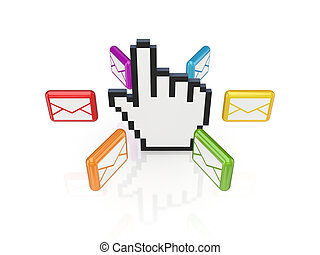 Colorful envelopes around large cursor.