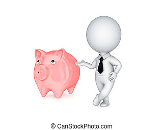 3d small person showing on a pink piggybank.Isolated on...