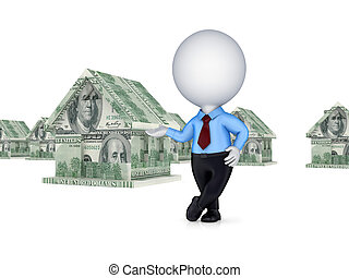 3d person and small house made of money Isolated on white...