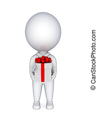 3d small person with a gift box in a handsIsolated on white...