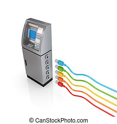 ATM and colorful patch cords.Isolated on white background.3d...