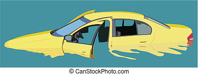 Sunken car - Vector image of a sinking car with open doors