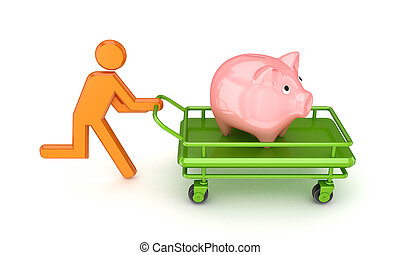 3d small person and piggy bank on a pushcart - Running 3d...