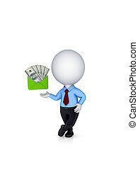 3d small person and dollars in a green enbelope - 3d small...