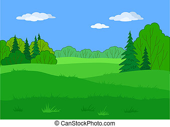 Landscape, summer forest glade - Landscape: summer green...