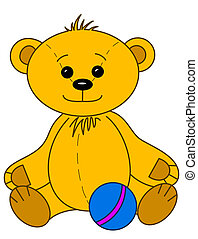Teddy bear with ball, contours