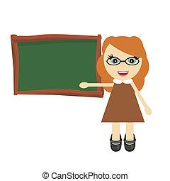nice young teacher near board