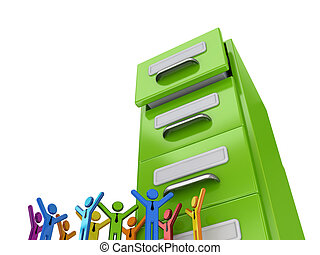 Colorful 3d small people and green archive case.