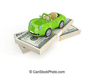 Small green car and dollar packs.Isolated on white...