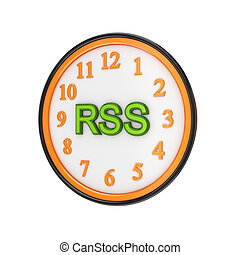 Orange watch and green word RSSIsolated on white...