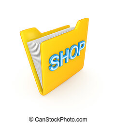 Yellow folder with a blue word SHOP.