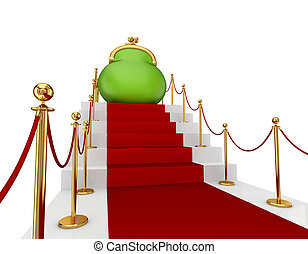 Green purse on a red staircase.Isolated on white...