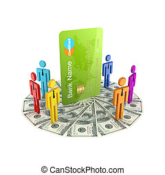 3d small people around large credit card - 3d small people...