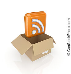 RSS symbol in a carton box.