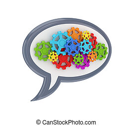 Colorful gears Isolated on white background3d rendered