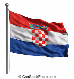Flag of Croatia. Rendered with fabric texture (visible at...