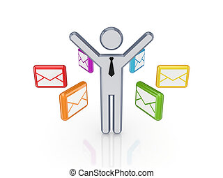 Colorful envelopes around 3d small person.