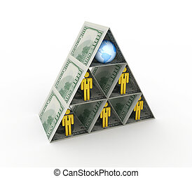 Financial pyramid concept.