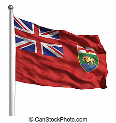 Flag of Manitoba. Rendered with fabric texture (visible at...