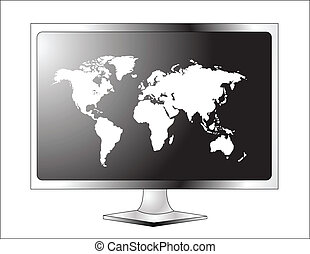 Plasma LCD TV with world map