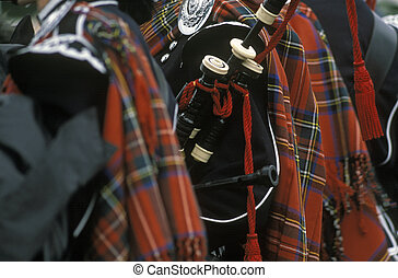 PIPE BAND - Scottish pipe band with tartan