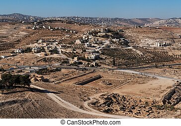Excavations and Arab village at the place of ancient King Herod palace in Herodion