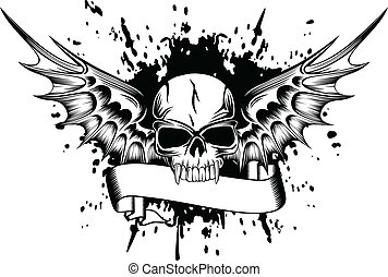 skull with wings 2 - Vector image skull with wings and...