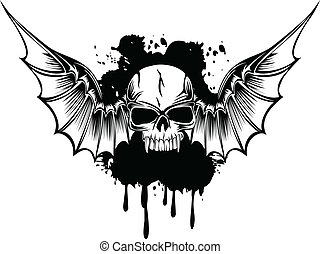 skull with wings 3 - Vector image skull with wings and...