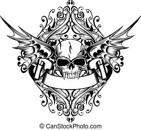 skull with wings 4 - Vector image skull with wings and...
