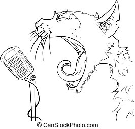 Cat yells into the microphone. Vector illustration.