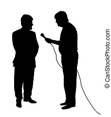 Interview - Illustration of an interview. Isolated white...