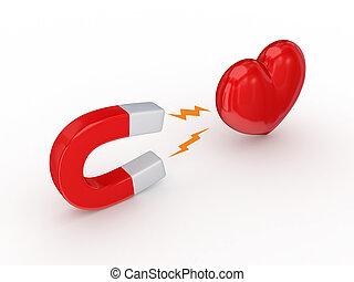 magnete, rosso, cuore