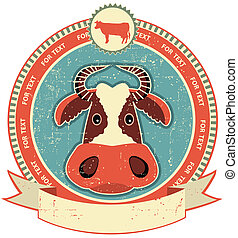 Cow head label on old paper textureVintage style
