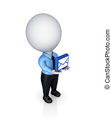 3d small person with envelope symbol in a hands.