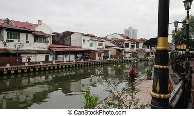 Melaka River in Malacca Malaysia - Buildings along Melaka...