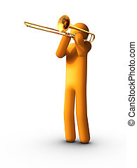 Playing Trombone - 3D rendered stick figure playing...
