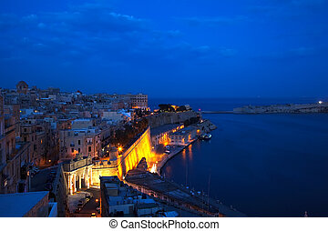 View of Valletta, Malta - Fortress wall of Valletta in night...