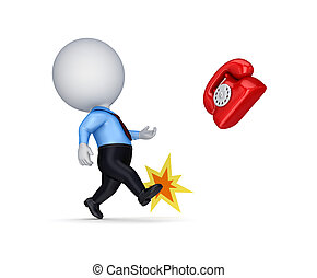 3d small person kicking a red vintage telephone.Isolated on...