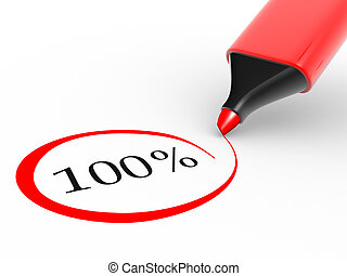 100% - Choose 100% rate and a marker. 3d render illustration...