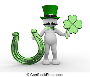 Shamrock - 3d people - human character, person with a...
