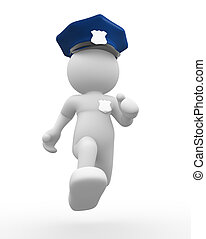Policeman - 3d people - human character , person with helmet...