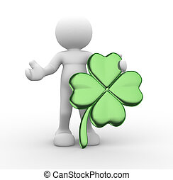 Clover - 3d people - human character, person and a clover...